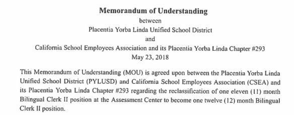 bilingual clerk mou for review placentia yorba linda california